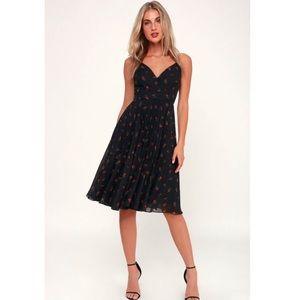 Lulu's Black Midi Dress with mini roses